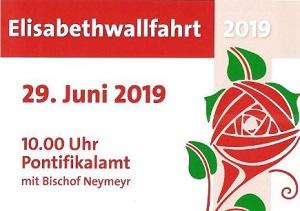 Plakat zur Elisabethwallfahrt 2019 mit Zeichnung der Elisabethrose.