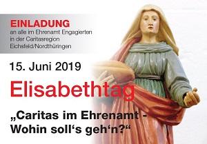 Einladungsplakat mit der Figur der Heiligen Elisabeth mit geöffneten Armen.